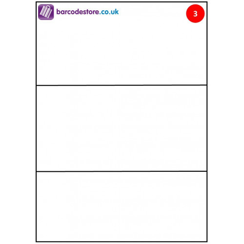 A4 Sheet Labels - 3 Labels per page